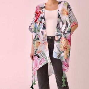 Tops - Women's Kimono Tropical Floral Vacation Vibes